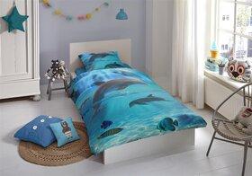 Good Morning Renforcé Bettwäsche 4 Teilig Bettbezug 135 X 200 Cm Kopfkissenbezug 80 X 80 Cm Good Morning Delfin 55862008 Blau