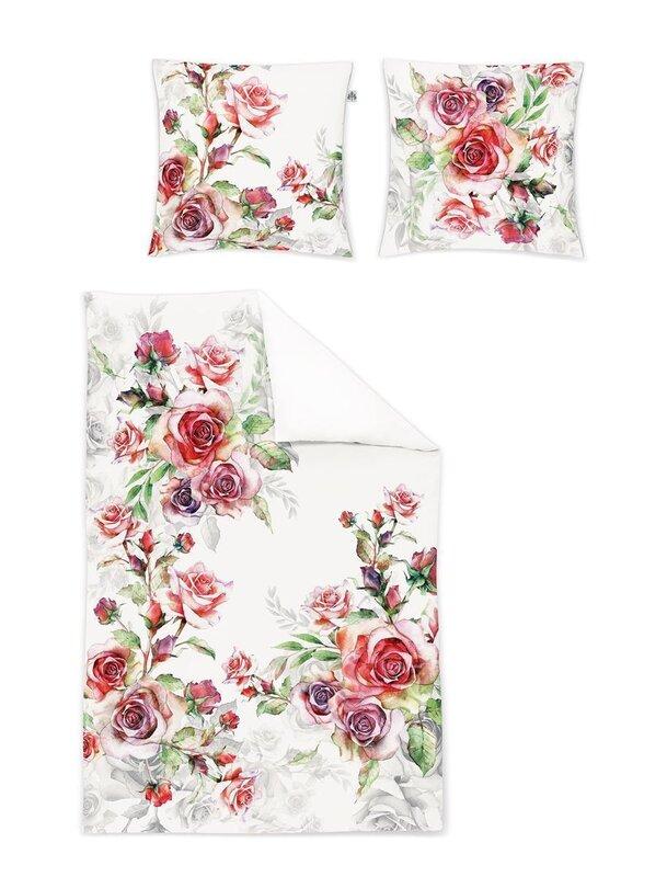 Irisette Mako Satin Digitaldruck Bettwäsche 4 Teilig Bettbezug 135 X 200 Cm Kopfkissenbezug 80 X 80 Cm Juwel K 752787 60 Rose