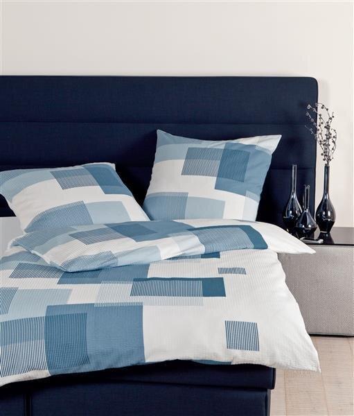 Janine Baumwoll Seersucker Bettwäsche 4 Teilig Bettbezug 155 X 220 Cm Kopfkissenbezug 80 X 80 Cm Tango Quadrat Blau