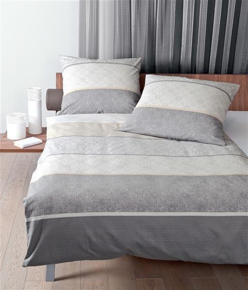 Janine Biber Bettwäsche  200x220 cm  Davos 6469-08  Streifen grau silber