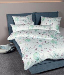 Janine Interlock Jersey Bettwäsche 4 Teilig Bettbezug 135 X 200 Cm Kopfkissenbezug 80 X 80 Cm Carmen 53058 06 Limonenminz Wasserlilie