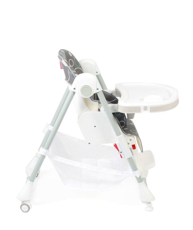Chic4Baby zusammenklappbarer Hochstuhl 'Anuk Bubbles' mit mehrfach verstellbarer Rückenlehne, Esstisch und Fußstütze