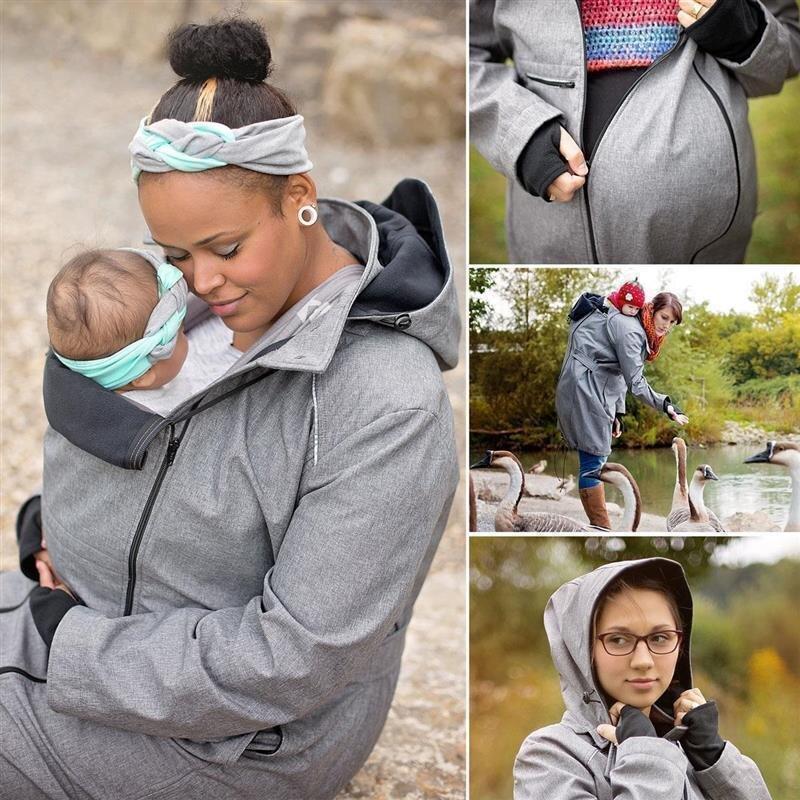 Hoppediz Tragemantel für Schwangerschaft, Bauchtrageweise und Rückentrageweise